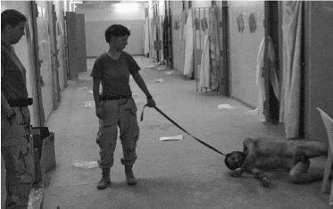 Prisoner on dog-lead
